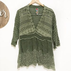 Johnny Was tunic green embroidered laser cut large